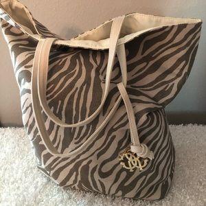 Roberto Cavalli Zebra Printed Canvas Tore Bag